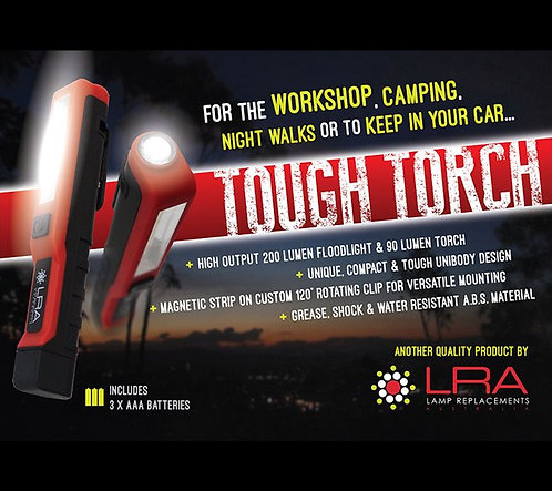 LRA LED Tough Torch (Includes 3 x AAA batteries)