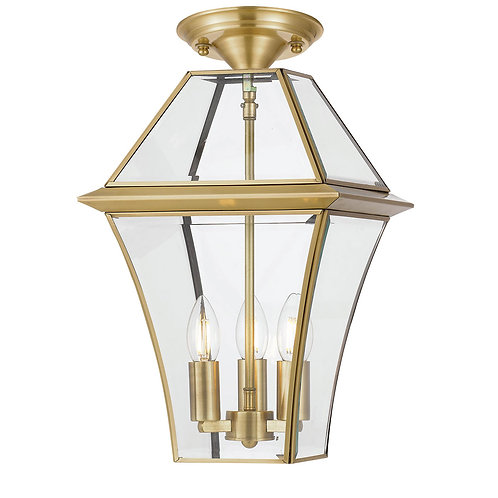 Rye 3lt antique brass exterior close to ceiling