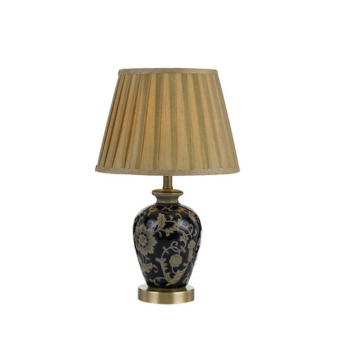 Amani blue and gold floral table lamp