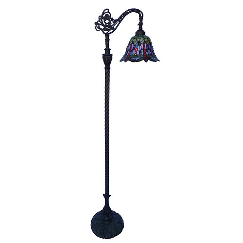 "Red/Blue Dragonfly 10"" Bridge Floor Lamp"