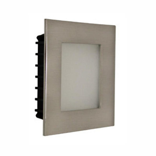 AT9500 Satin chrome square stair light - opal fascia