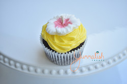 Cupcake with Hibiscus Topper