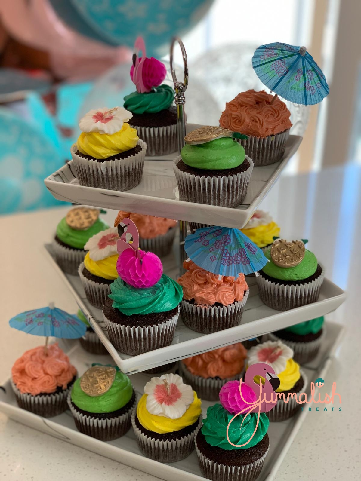 Custom Hawaiian Themed Cupcakes