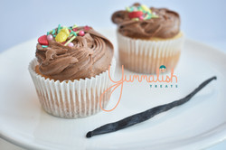 Vanilla Cupcakes with Chocolate Cheesecake Frosting