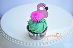 Cupcake with Flamingo Topper