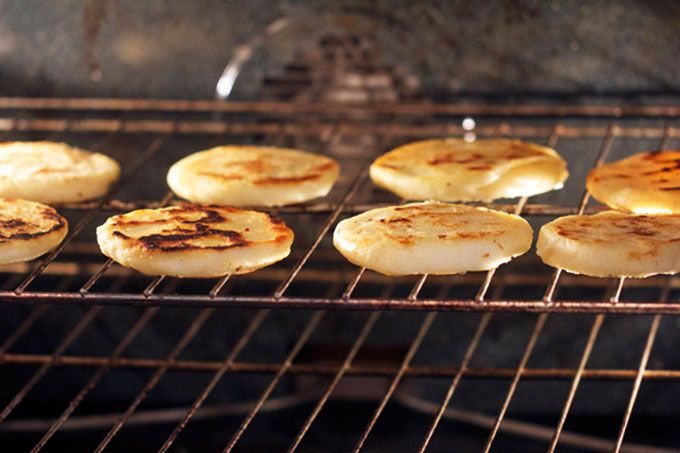 Arepas cooked in the oven