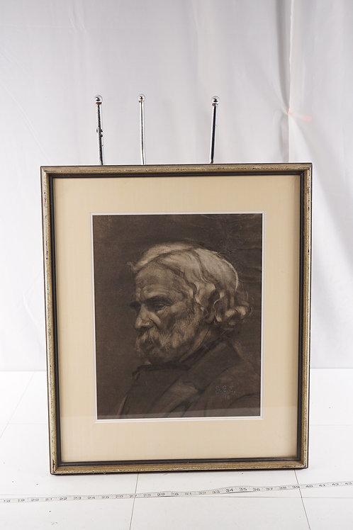 1918 Framed Etching Portrait - Signed By G. E. E.