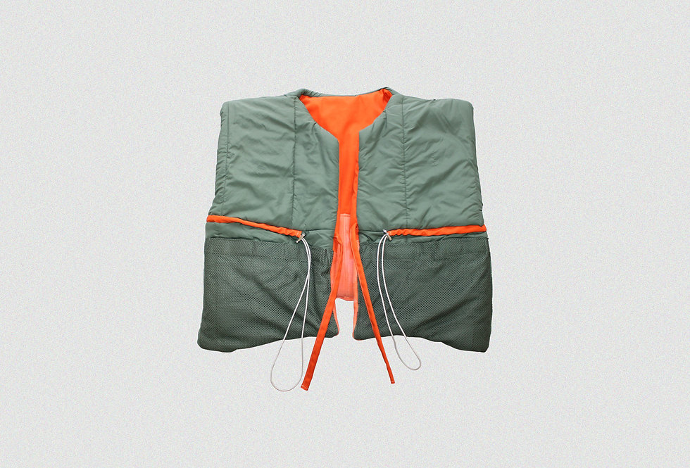 RECONSTRUCTED MILITARY FLIGHT SUIT REVERSIBLE GILET (1 OF 1)