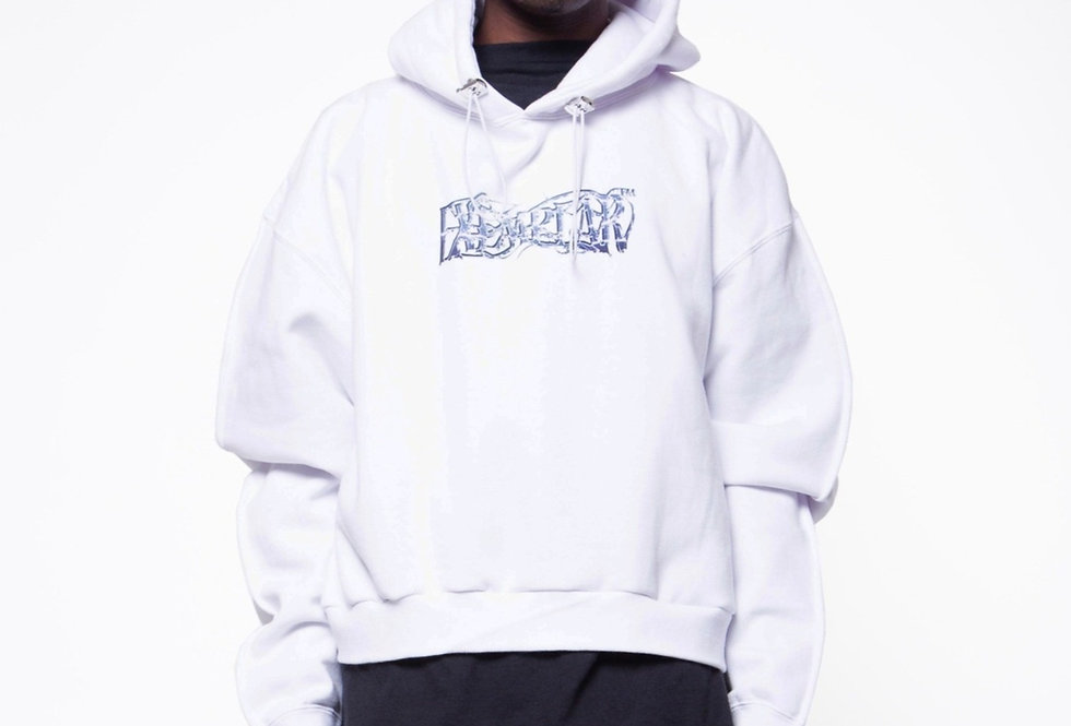 CROPPED MOLTEN SILVER HOODIE