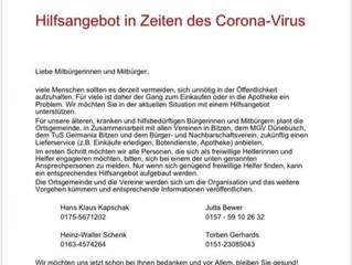 Hilfsangebot in Zeiten des Corona-Virus