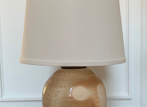 Wood Fired Lamp with Hand Carved Foot