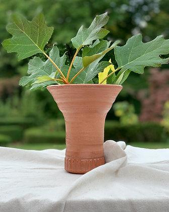 Terra Cotta Carved Foot Vase