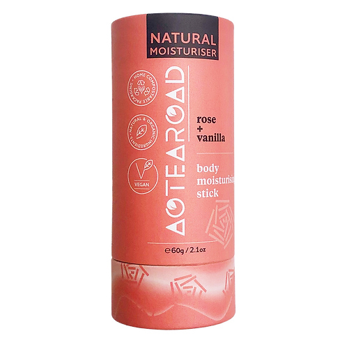 Aotearoad Natural Body Moisturiser Stick - Rose + Vanilla 60g