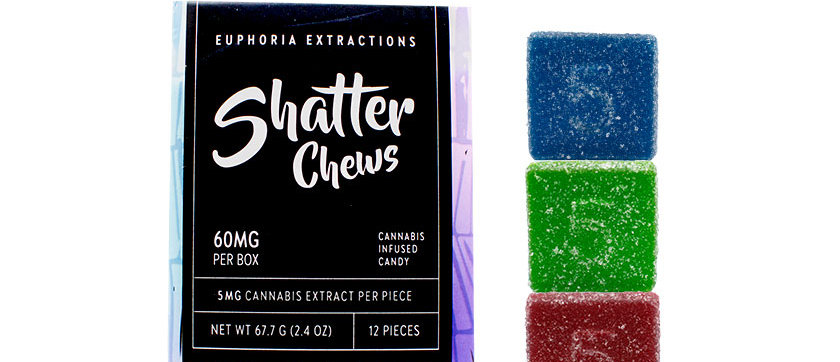 60mg Indica Shatter Chews by Euphoria Extractions