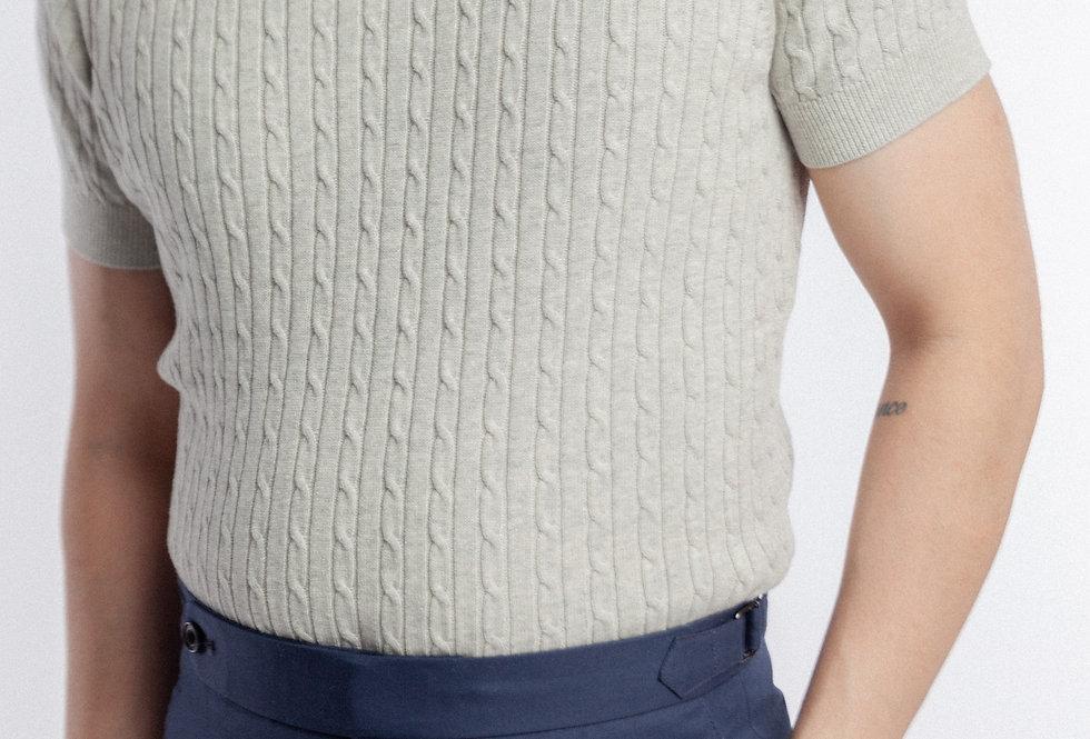 Cableknit Melange Grey