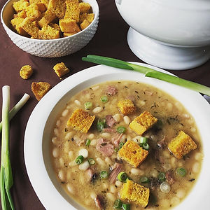 Southern White Beans & Ham with Cornbread Croutons
