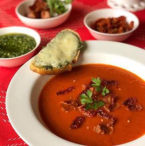 Roasted Tomato Soup, Pesto Grilled Cheese
