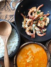 pineapple curry coriander shrimp