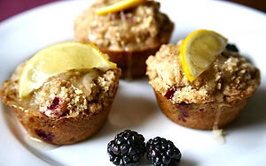 Lemon Blackberry Muffins with Pecan Streusel