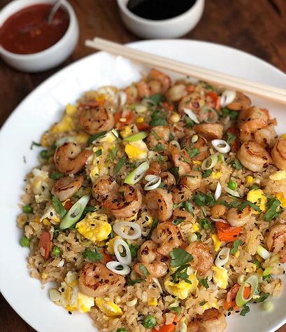 shrimp fried rice with marinated ginger shrimp