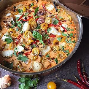 ThaiCoconut, CurryVegetables withSea Bass