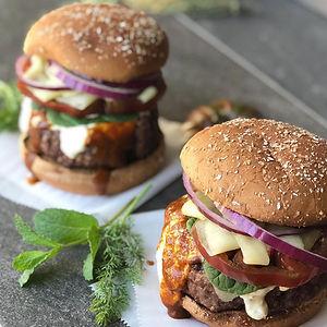 lamb and beef hamburger, curry hamburger, spicy burger, greek burger, tzatziki burger