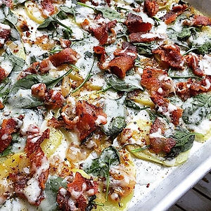 Tangy Scalloped Potatoes with Spinach & Bacon