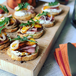 peach sproscuitto crostini balsamic pickled onions