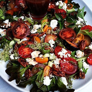 Plum Balsamic Salad  with Feta & Pecans