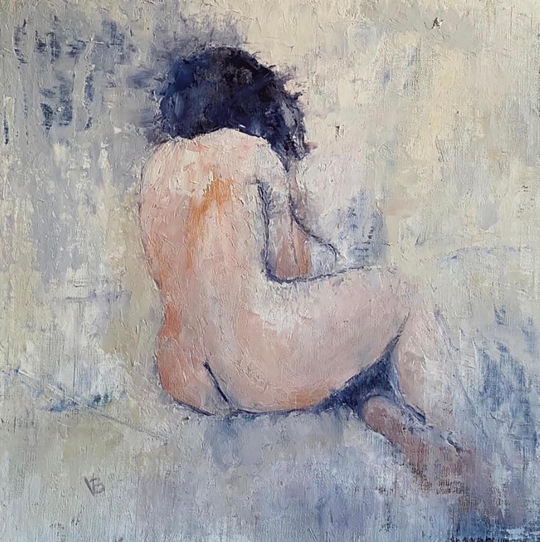 'The Stillness, Still' Oil and Cold wax on Linen Board 40x40cm Framed