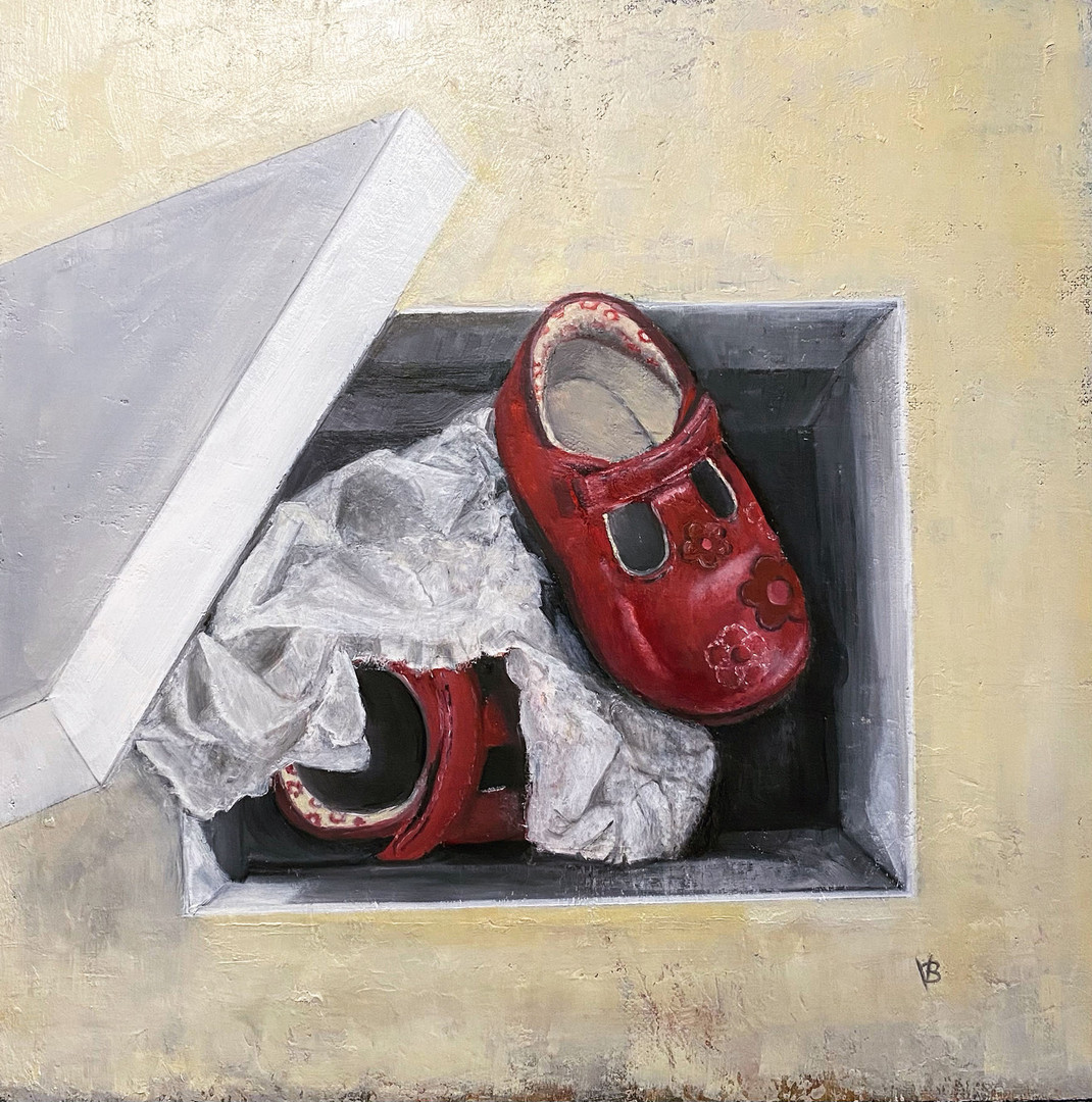 'Little Red Shoes' Oil on Linen Board 40x40cm *SOLD*