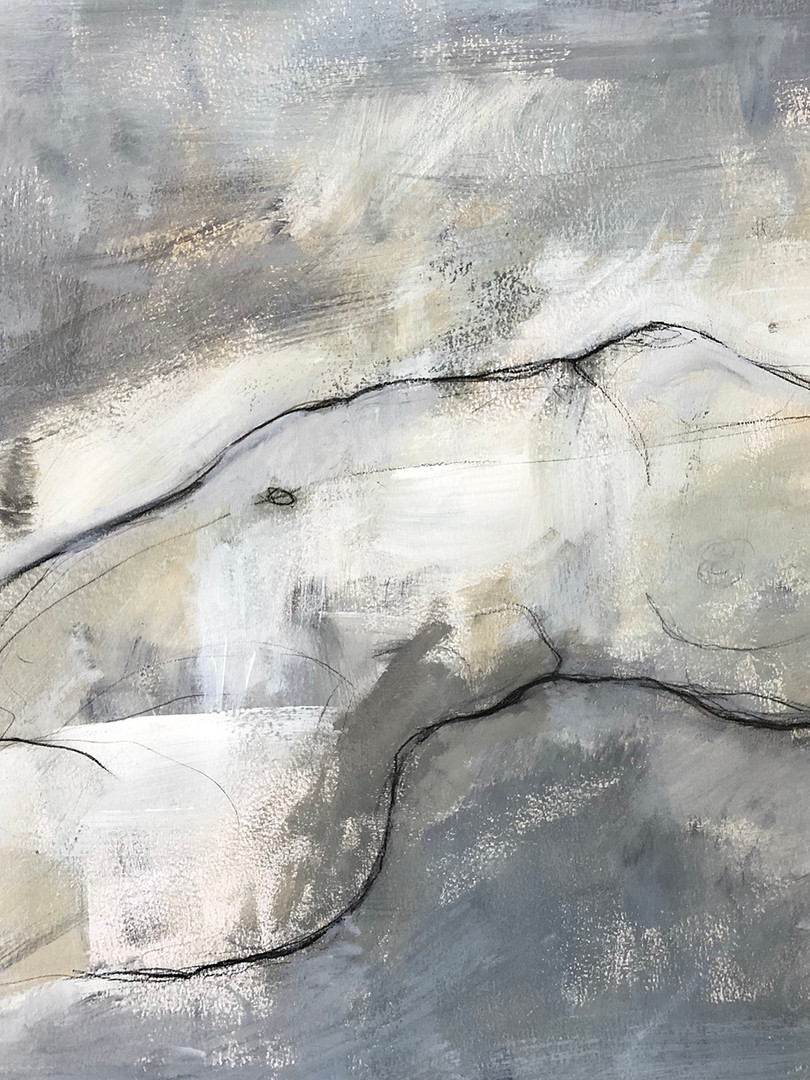 """'The Beauty of Grey' Mixed Media on Paper Framed 26x18"""""""