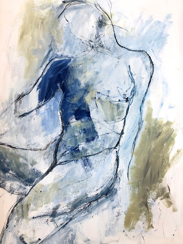 """'Electron Blue' Mixed Media on Paper Framed 21x28"""""""