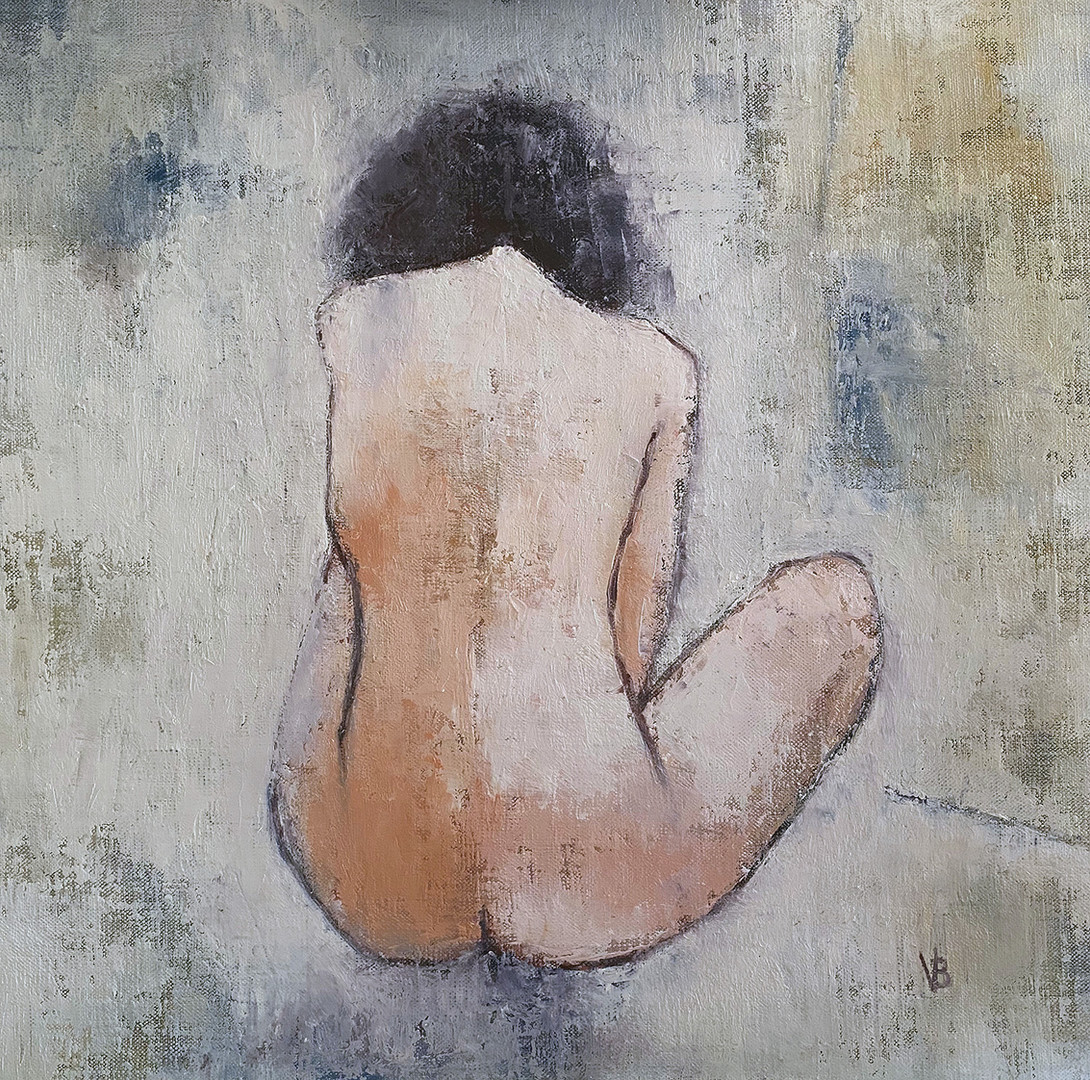 'She Just Wants To Be' Oil and Cold wax on Linen Board 40x40cm Framed