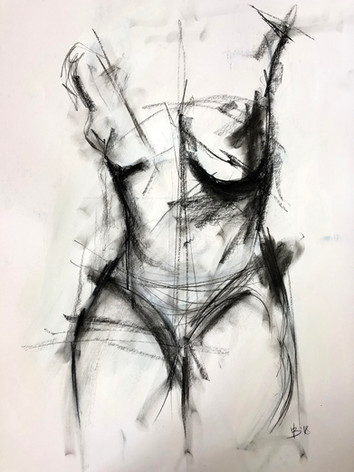 """'Fragile Cover' Charcoal on Paper Framed 18x27"""""""