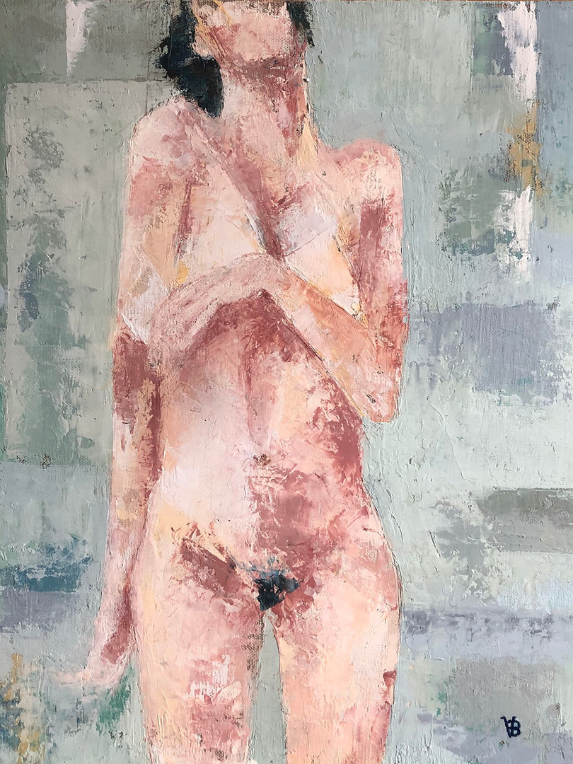 'You Laid Me Bare' Oil and Cold Wax on Linen Board 40x40cm Framed