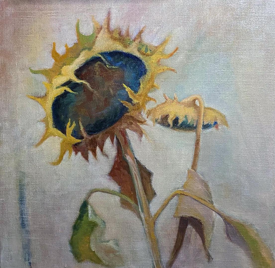 'Subtle Sunflowers' Oil on Linen Board 30x30cm