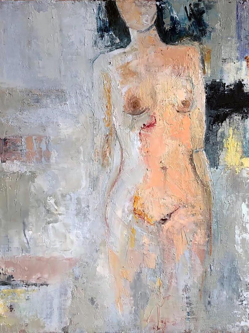 'Edge of Rhythm' Oil and Cold Wax on Linen Board 40x40cm Framed