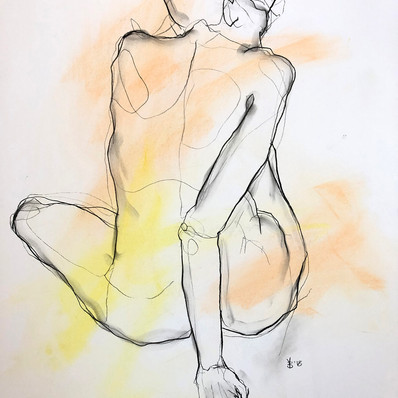 """'Yellow Rose' Charcoal and Chalk on Paper Framed 21x27"""" *SOLD*"""