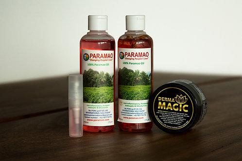 Paramao Oil  Range (Root-filled bottle, refill bottle, Derma Magic cream)