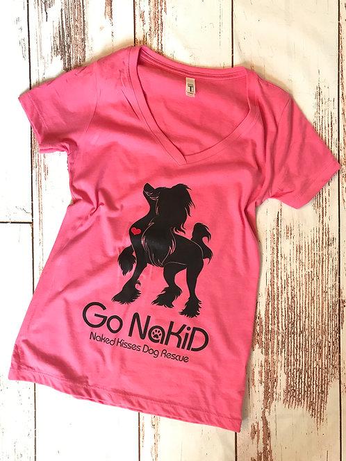 Go NaKiD Ladies V-Neck Tee