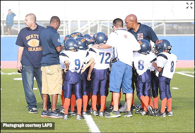 Good News Bears: Watts' LAPD – Coached Youth Football Team Huddles Up