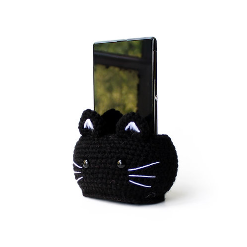 Black cat phone stand