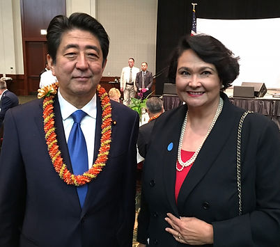 Prime Minister Abe and Dr. Elizabeth Kei