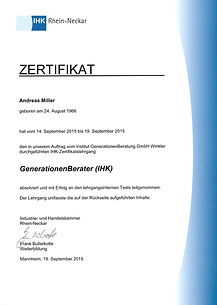 IHK Zertifikat GenerationenBerater - CARESOL Andreas Miller