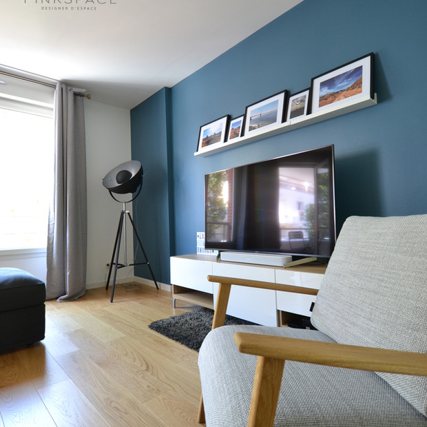 Aménagement salon bleu