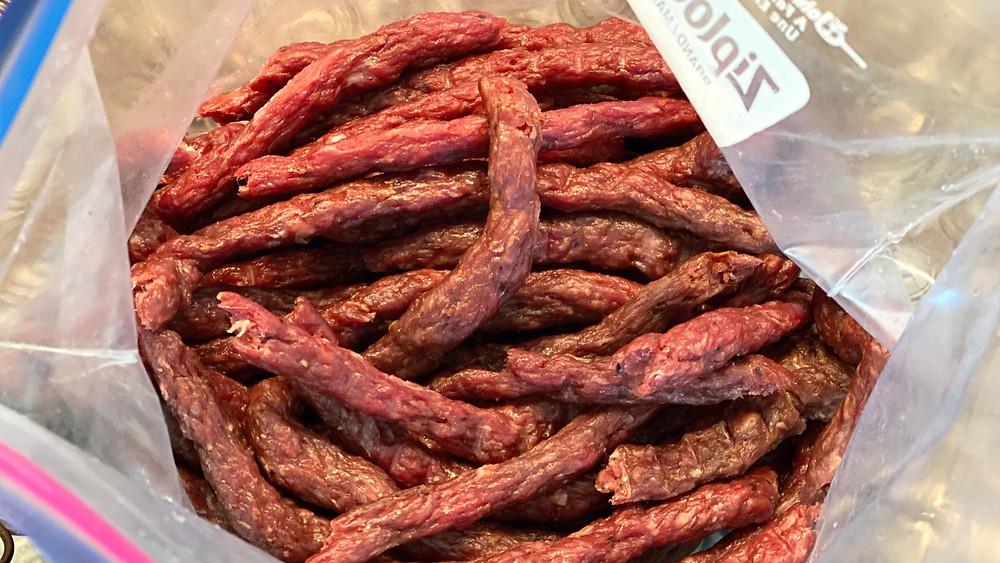 beef jerky meat sticks in bag