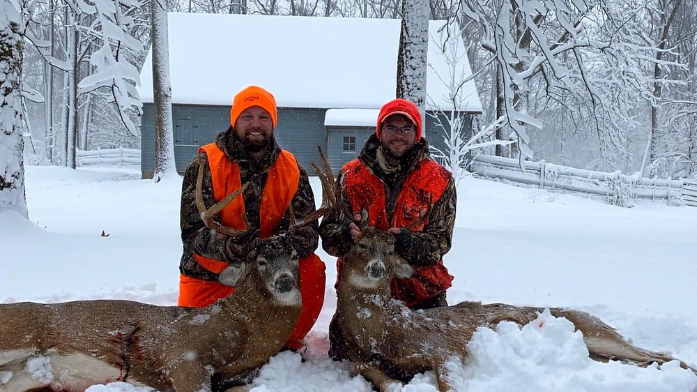 Ohio whitetail deer bucks gun hunting two hunters