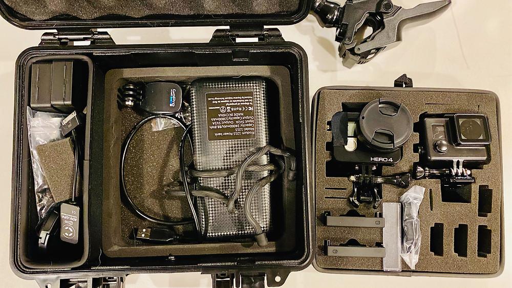 gopro hero 4 silver, flex clamp mount, power pack batter, hard case