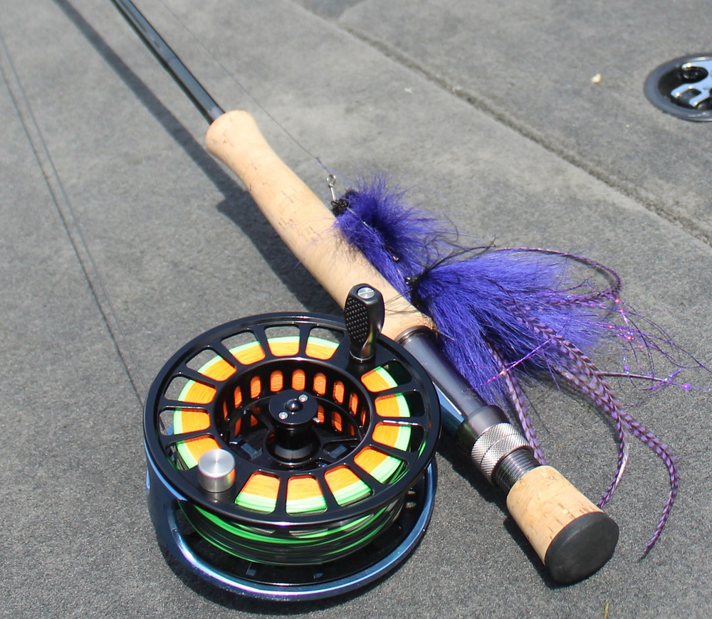 Muskie fly fishing rod, reel, fly line, and fly
